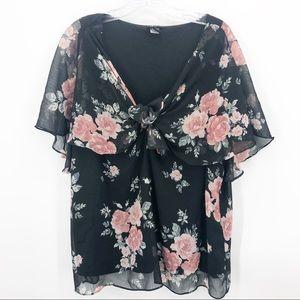 Torrid | Sleeveless Black Blouse w/Floral Overlay